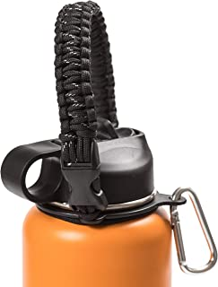 Hike And Joy Paracord Strap Water Bottle Handle for Hydro Flask and Other Wide Mouth Bottles. Fits 12oz to 64oz Bottles. Ideal Flask Accessories for Hiking - Assembled with Safety Ring and Carabiner.