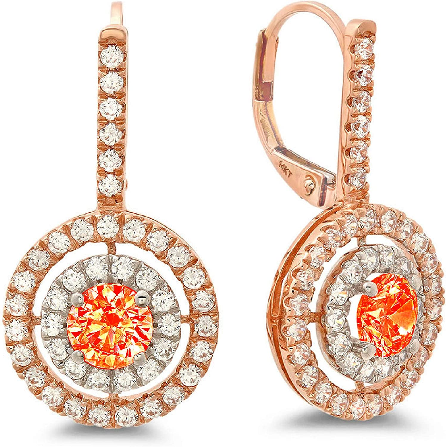 2.34cttw Round Cut ideal VVS1 Conflict Free Gemstone Double Halo Solitaire Genuine Red CZ Unisex Designer Lever back Drop Dangle Earrings Solid 14k 2tone Gold