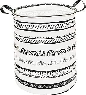 KUNRO Large Sized Storage Basket Waterproof Coating Organizer Bin Laundry Hamper for Nursery Clothes Toys (Black Pattern)