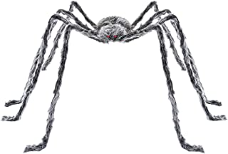 Halloween Haunters 6 Foot Giant Oversized Realistic Scary Gray and Black Fury Spider Prop Decoration - Creepy Crawly Hairy Legs - Place In Web, Tree, Yard, Haunted House Graveyard, Tombstone, Entryway