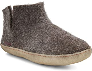 Felted Wool Slippers Women Men - Hide Rubber Sole - Fairtrade Short Boot
