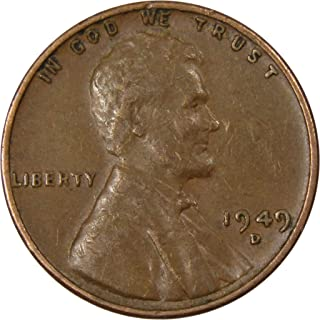 1949 D 1c Lincoln Wheat Cent Penny US Coin Average Circulated
