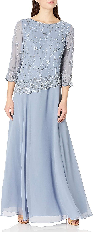 J Kara Women's Beaded Scallop Bodice Asymmetrical Gown