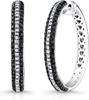e1800f33e Victoria Kay 1/4ct White Diamond and 4/5ct Black Diamond Hoop Earrings in