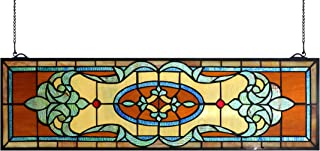 Yogoart 32 Inch Width Horizontal Stained Glass Window Hangings Tiffany Glass Window Panel 9 Inch Height