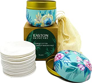 Easton Skincare AU Bamboo Cotton Makeup Remover Pads (16 Pack) Reusable Washable Sustainable - Cotton Laundry Mesh Bag - Metal Storage Container - Soft 2 Layer Terry Face Cleansing Wipe
