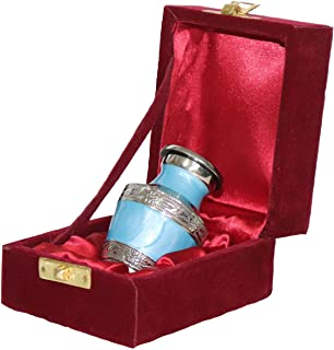 THE ASCENT MEMORIAL Azure Blue Small Urns for Human Ashes - Small Keepsake Box with Velvet Carry Bag and Funnel - Mini Urn...