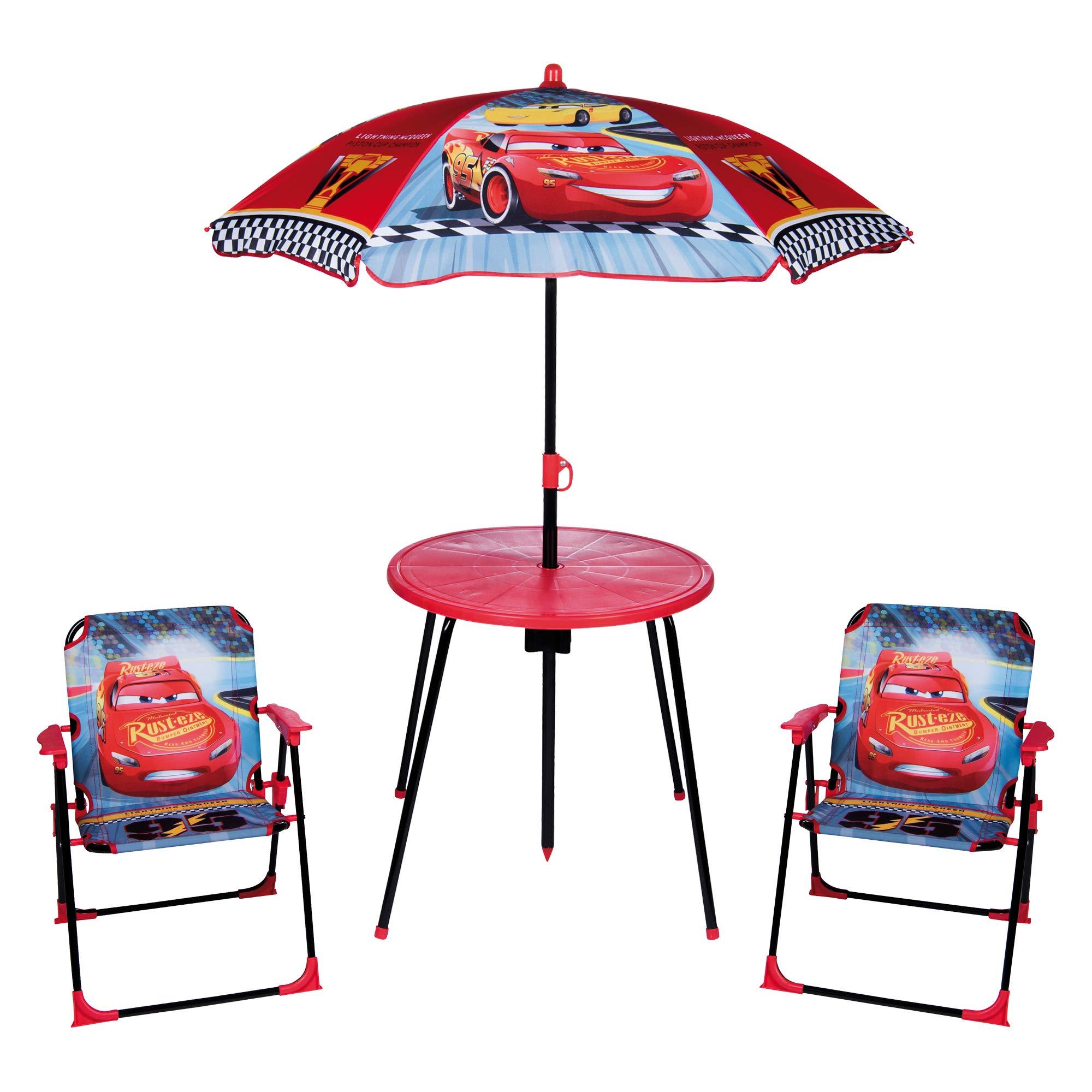 URBN Toys - Juego de jardín y Picnic para niños, sombrilla, Mesa y 2 sillas, Disney Cars 3: Amazon.es: Jardín