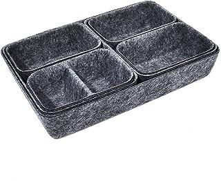 ZUQ Organiseur de tiroir 7 pièces Système de rangement lavable pour coiffeuse Pliable Panier de rangement en feutre pour p...