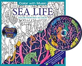 Sea & Ocean Life Adult Coloring Book With Bonus Relaxation Music CD Included: Color With Music