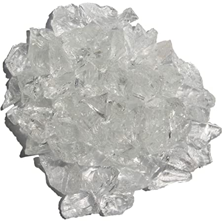 Hiland Fire Pit Fire Glass Ice Clear, Extreme Tempature Rating, Good for Propane or Natural Gas, 10 Pounds, 10lbs, Clear