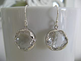 Clear Faceted Glass Earrings on Sterling Silver Earring Wires