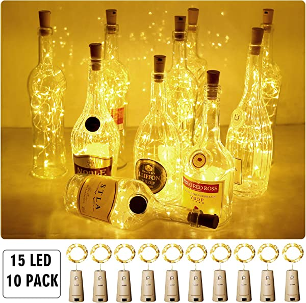 Aluan Wine Bottle Lights With Cork 15LED 10 Pack Bottle Lights Battery Powered Wine Cork Lights String Lights For Party Wedding Christmas Festival Decoration Warm White