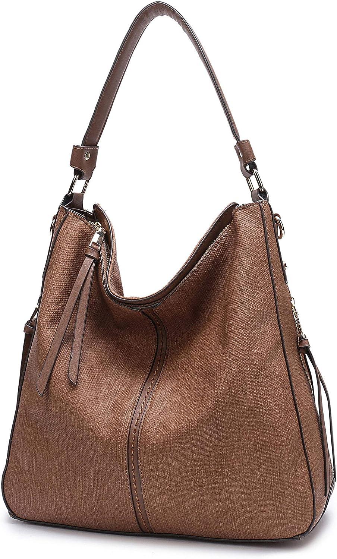 DDDH Vintage Hobo Handbags Shoulder Bags Durable Leather Tote Messenger Bags Bucket Bag for Women Ladies Girls (Brown1)