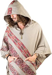 Handmade Hooded Mens Poncho Light Grey Cashmere Wool with Large Hood and Pockets Jungle Primitive Gypsy Festival Mexican Tribal Embroidered Celtic Earthy Winter Tibetan AJJAYA Wild …