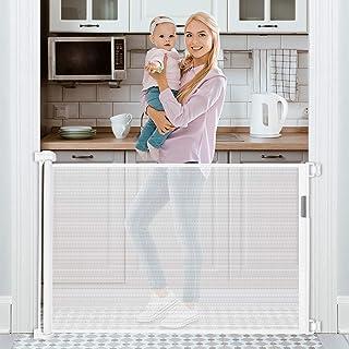 "Retractable Baby Gate 54"" Tough Durable Mesh Outdoor Retractable Gate Indoor Safety Mesh Baby Gates, Pet Dog Gate"