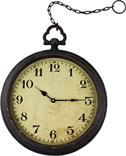 Vintage Pocket Watch Inspired Wall Clock with Chain, Round, 17