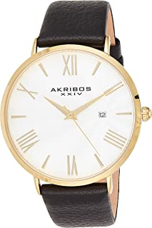 Akribos XXIV Men's Watch – Crocodile Embossed Genuine Leather Band – Classic Round Case, Roman Numeral Markers, Guilloche ...