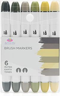Professional Brush Tip Cool Gray Markers Set of 6 Earth Tone Markers for Outdoor Scenery Drawing Manga Sketching Illustration
