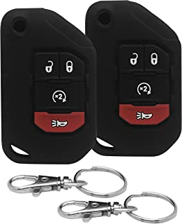 Good Life+Style 2 Pc Jeep Wrangler JL Gladiator JT Key Fob 3 Button or 4 Button Silicone Cover Case with Snap Hooks for 2018 2019 2020 JLU Sport S Sahara Rubicon Moab Overland 68292942AA 68292944AA