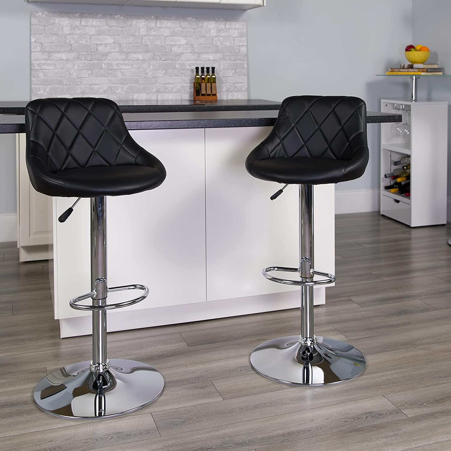 Flash Furniture 2 Pack Contemporary Black Vinyl Bucket Seat Adjustable Height Barstool with Diamond Pattern Back and Chrome Base