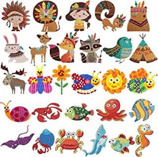 HaiMay 28 Pieces Diamond Painting Kits Kids 5D Diamond Stickers DIY Cute Animals, Sea World Painting with Diamonds for Kids and Adult Beginners