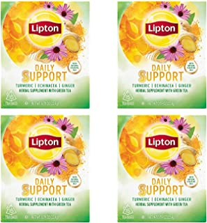 Lipton Herbal Supplement with Green Tea Daily Support 15 ct, Pack of 4