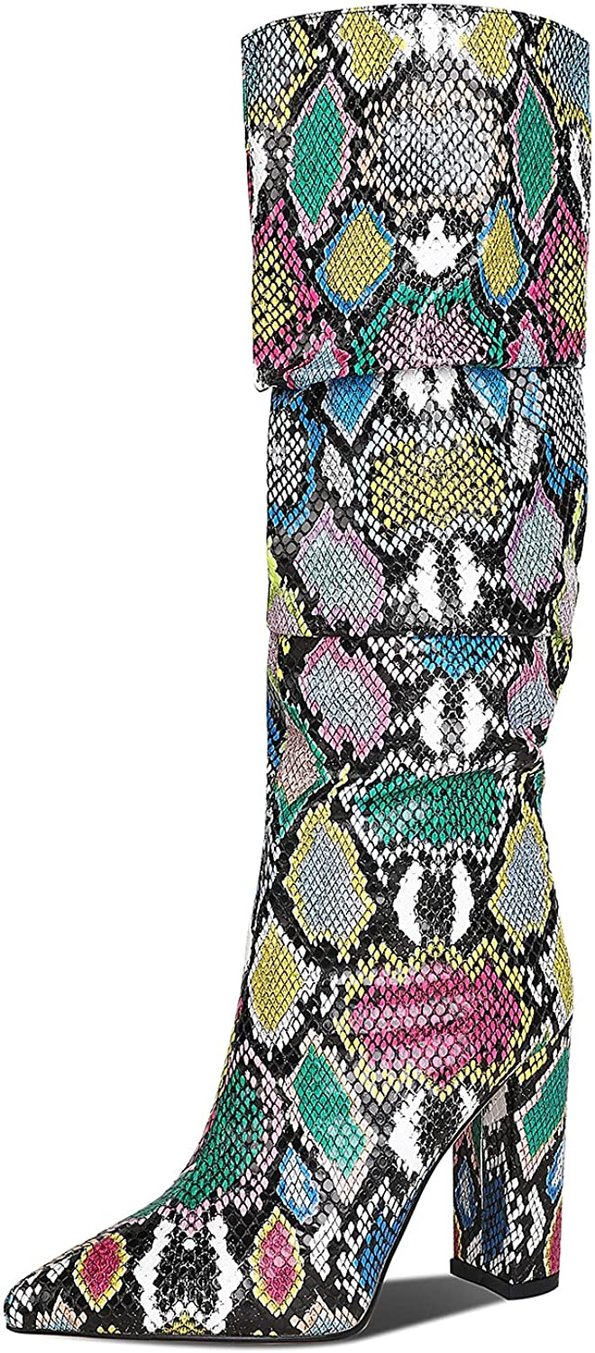 WETKISS Womens Knee High Colorful Snakeskin Boots Mid-Calf Snake Print Booties High Heels Pointed Toe Zipper Slouch Shoes
