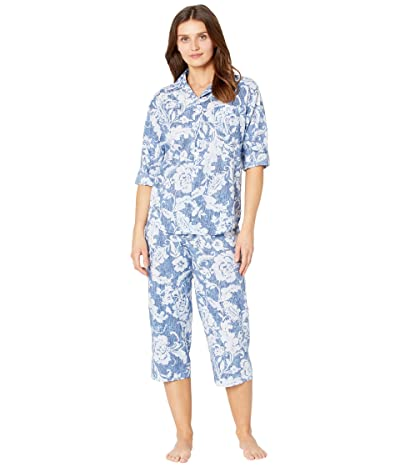 LAUREN Ralph Lauren Petite Classic Wovens 3/4 Roll Tab Sleeve Notch Collar Capris Pajama Set (Navy Print) Women