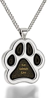 925 Sterling Silver Vegan Paw Necklace Let Animals Live Pendant 24k Gold Inscribed in 60 Languages, 20
