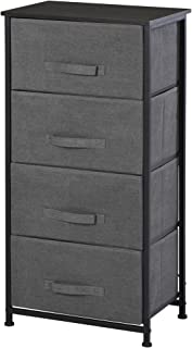 HOMCOM Meuble de Rangement 4 tiroirs chiffonnier dim. 45L x 30l x 92H cm métal MDF Non tissé Noir