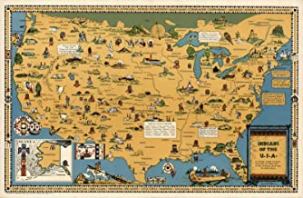 Riley Creative Solutions 🔴 USA Native American Indian Tribes | Pictorial Map Wall Poster (23