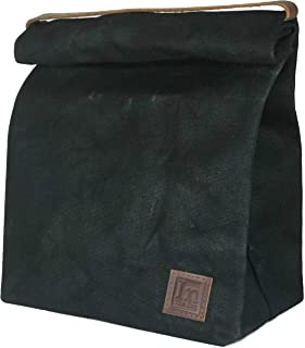Lunch Bag (Lunch Box) Large Lined Waxed Canvas Roll Top Tote Bag; Leather Handle and Brass Snap Closure - Black Bag - by In The Bag