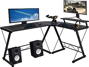 "Halter L-Shaped Desk 59"" Computer Corner Desk Home Gaming, Office Desk Study Writing Modern Table, Black Desk with Black Metal Frame, Space Saver Easy to Assemble"