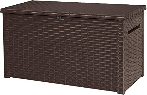 Keter Java XXL 230 Gallon Resin Rattan Look Large Outdoor Storage Deck Box for Patio Furniture Cushions, Pool Toys, a...