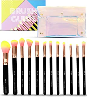 Makeup Brushes Set 12 pcs - Makeup Brushes For Beginners Includes Labeled Makeup Brush Set & Instructions. Rose Gold & Pink Brushes Make An Ideal Gift For Teens. Bonus Holographic Makeup Bag Case