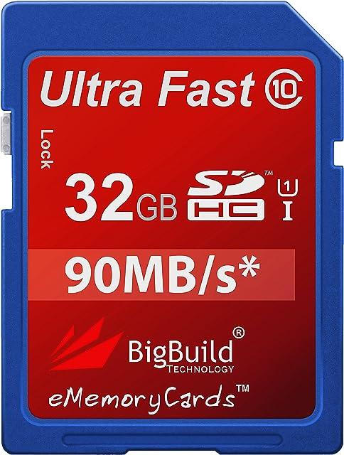 eMemoryCards 32 GB/32 gig Ultra rápida 80mb/S SD tarjeta de memoria SDHC para cámara réflex digital Canon EOS 450D