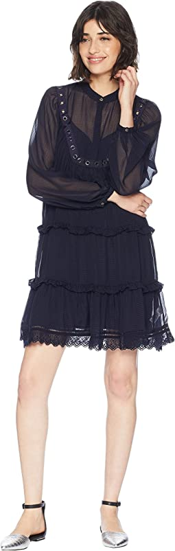 Seersucker Embroidered Trim Dress