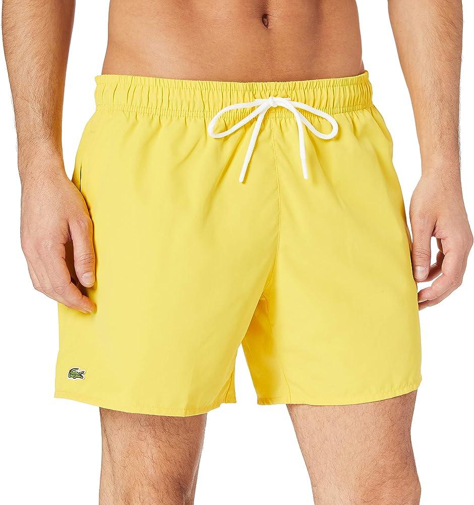 Lacoste, costume da bagno a pantaloncino per uomo, 100% poliestere, giallo, ad asciugatura veloce MH62705