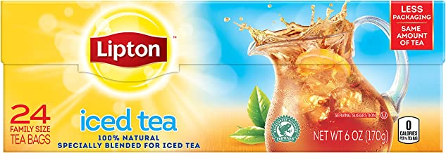 Lipton Family Black Iced Tea Bags, Unsweetened, 24 ct
