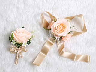 Secret Garden Wedding Prom Wrist Corsage Single Silk Rose and Boutonniere Set Pin Ribbon Included (Classic Oldrose Theme)