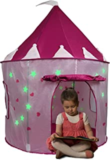 Click n' Play Girl's Pink Princess Castle Play Tent Features Glow in The Dark Stars