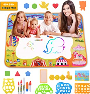 HANGRUI Aqua Magic Doodle Mat Water Drawing Mat Kids Toys Mess Free Neon Coloring Painting Board Educational Toys Writing Mats Xmas Gifts for Toddlers Boys Girls Age of 2,3,4,5,6 Year Old