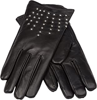 Women's Leather Gloves with Long Fingers (Metal Studs) |Tall Fingers| Big&Tall