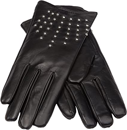 f54e6dcfdc1b0 Women's Leather Gloves with Long Fingers (Metal Studs) |Tall Fingers|  Big&Tall