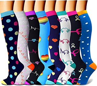 Compression Socks for Women & Men Circulation 8 Pairs 15-20 mmHg is Best Support for Athletic Running Cycling