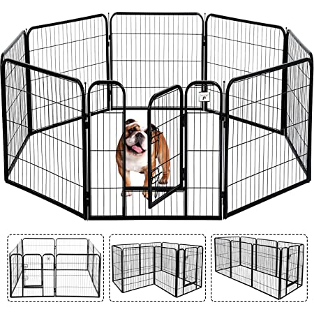 Pet Gate, Large Dog Kennel Puppy Playpen Dog Fence 24,32,40 Inch Exercise Pen Gate Fence Foldable 8 Panels with Door Options Ideal for Pet Animals Outdoor Indoor