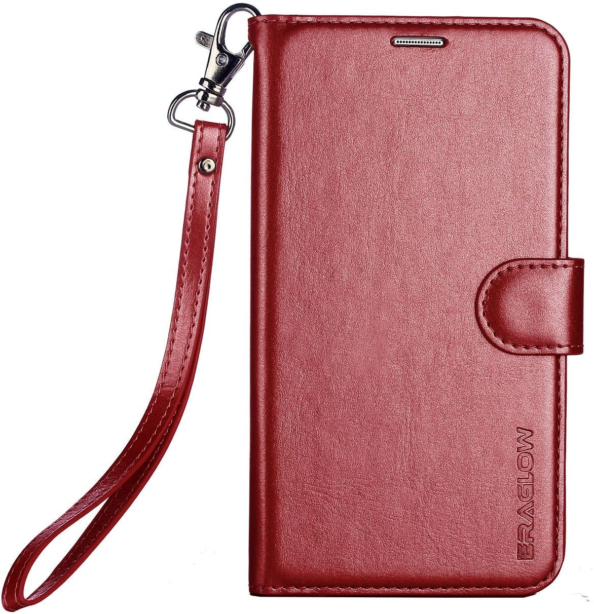 Galaxy S9 Wallet Case, Galaxy S9 Case, ERAGLOW Premium PU Leather Wallet Flip Protective Case Cover with Card Slots and Kickstand for Samsung Galaxy S9 (Wine Red)