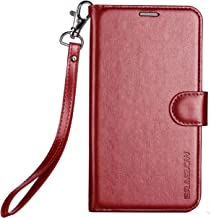 ERAGLOW Galaxy J7 V Case, J7 Perx Case, Galaxy J7 Sky Pro Case, Luxury PU Leather Wallet Flip Protective Case Cover with Card Slots and Stand for Samsung Galaxy J7 2017 (Wine red)