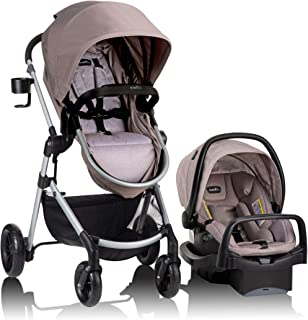 Evenflo Pivot 6 Position In 1 Modular 4 Wheel Travel System with SafeMax infant Car Seat 4lb to 35lb, Comes with 4 Pieces ...